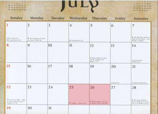 July in the Old World (with significant holidays & dates marked)