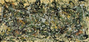 Number 8, 1949. 1949 Oil, enamel, and aluminum paint on canvas 34 1/8 x 71 1/4 in (86.6 x 180.9 cm)