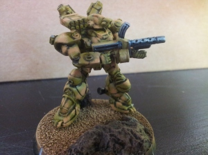 Stage 4: Camouflage complete and gun painted. Base is pretty much done.